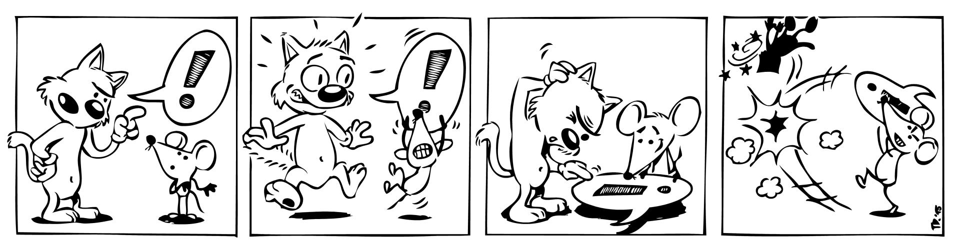 komiksový strip beze slov o kočce a myši